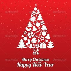 Merry Christmas Greeting Card. Christmas Tree. by Blankstock Merry Christmas greeting card. Christmas tree of flat icons. Happy New Year lettering. Vector illustration.