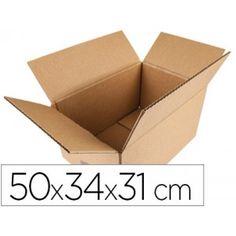 Paquete de 10 cajas de cartón plegable de cuatro caras laterales y base rectangular que se cierra por medio de cuatro solapas. Ideal para envíos y almacenaje. Medidas: 500 x 340 x 310 mm.
