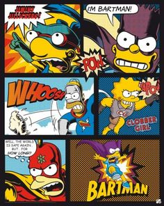 Poster affiche The Simpsons Superheroes