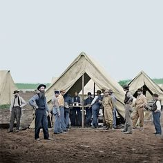 A sutler or victualer is a civilian merchant who sells provisions to an army in the field, in camp, or in quarters. Sutlers sold wares from the back of a wagon or a temporary tent, traveling with an army or to remote military outposts. Colored from a black & white.