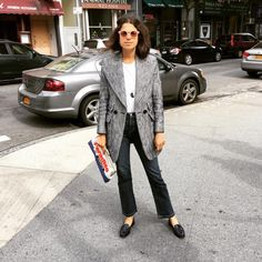 "Man Repeller na Instagramu: ""What to wear when you're in pursuit of smoked salmon with the intention of lathering it over your tongue and walking about the streets of upper New York with it hanging out of your mouth. www.liketk.it/1MrVk #liketkit"""
