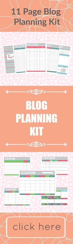 11 Page Printable Blog Planning Kit - Stay Organised while writing your blog. #blogplanningkit #blogplanning #printables