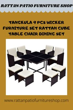 Material of wicker furniture: PE rattan, glass, steel, polyester cloth.Table dimension: 43.3″ x 43.3″ x 28.3″(L x W x H), Ottoman dimension: 16.1″ x 16.1″ x 13.4″(L x W x H), Chair dimension: 20.5″ x 20.5″ x 26.4″/33.9″(L x W x H). Net weight: 54.6lbs, Cushion with removable cover for convenient cleaning. Rattan Furniture, Furniture Sets, Cube Table, Table Dimensions, Dining Set, Table And Chairs, Karaoke, Decorating Your Home, Ottoman