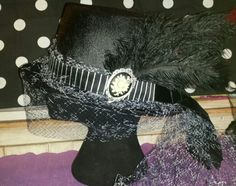 Black and white cameo burlesque top hat