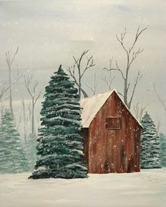 Join us for a Paint Nite event Wed Dec 2016 at 101 North Loudoun Street Winchester, VA. Purchase your tickets online to reserve a fun night out! Christmas Canvas, Christmas Paintings, Christmas Art, Xmas, Winter Painting, Winter Art, Tole Painting, Painting & Drawing, Pictures To Paint