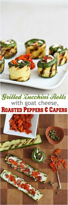 Grilled Zucchini Rolls with Goat Cheese, Roasted Peppers and Capers...54 calories and 1 Weight Watchers PP | cookincanuck.com #vegetarian #recipe