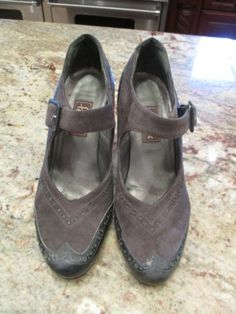 Peter-Fox-Black-Leather-and-Grey-Suede-Shoes-with-strap-Vintage