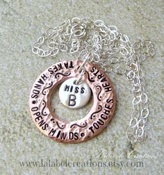 Teacher's Personalized Necklace,  Copper Washer Hand Stamped Jewelry, Mr. or Mrs. Teacher Initial Necklace, Personalized Gifts for Teacher