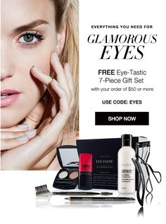 Free Eye-Tastic 7 piece gift set with your order of $50 or more, which includes free shipping, with code EYES at youravon.com/mmcquain through midnight 6/29/16!