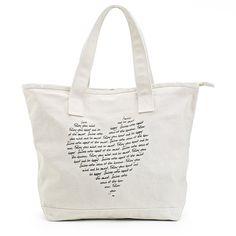 heart print tote bag, indigo $25