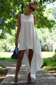 White High-Low Hem Sundress