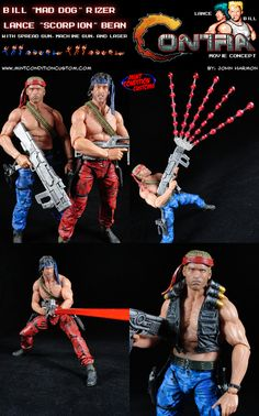 """My custom Contra Bill """"Mad Dog"""" Rizer, and Lance """"Scorpion"""" Bean action figures. I asked myself """"What if Contra was made into a live action movie back in the 80's?"""". Well, of course the two main characters would have to be played by Arnold Schwarzenegger and Sylvester Stallone, especially since the original game art was based on them. So I set out to make movie concept figures for Mad Dog and Scorpion."""