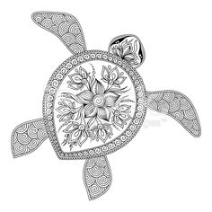 Pattern for coloring book. Decorative graphic turtle. royalty-free stock vector…