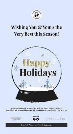 From our household to yours - we wish you Happy Healthy Holidays! Our offices will be closed December 24 - 2019 and December 31 - Jan Happy Holidays, Are You Happy, Wish, December, Seasons, Healthy, Products, Happy Holi, Seasons Of The Year