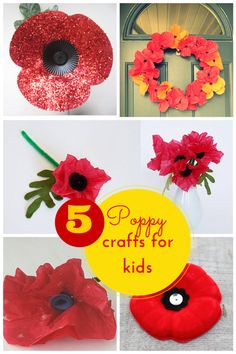 5 fabulous poppy crafts for Remembrance Day - - Five fantastic poppy crafts for kids. The perfect activity for children to join in Remembrance day & show support for the armed forces. Remembrance Day Activities, Memorial Day Activities, Veterans Day Activities, Remembrance Day Poppy, Craft Activities, Spring Activities, Wreath Crafts, Flower Crafts, Paper Plate Poppy Craft