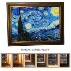 Comanda pe www.printly.ro tablouri canvas, inramate cu rama din lemn, sau tablouri pictate. Colectie Tablouri handmade (pictate partial), reproduceri ale unor tablouri celebre Van Gogh. Van Gogh, Night, Canvas, Artwork, Handmade, Products, Tela, Work Of Art, Hand Made