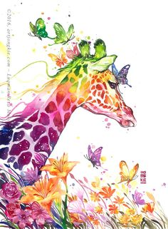 Rainbow colored Giraffe painting with butterflies. 80 Easy Watercolor Painting Ideas for Beginners Giraffe Painting, Giraffe Art, Cartoon Giraffe, Giraffe Pattern, Elephant Art, Art And Illustration, Painting & Drawing, Watercolor Paintings, Watercolor Images