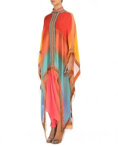 Multi Singh Twins Borders Kaftan Tunic - Apparel