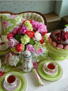 Gorgeous pink and green afternoon tea