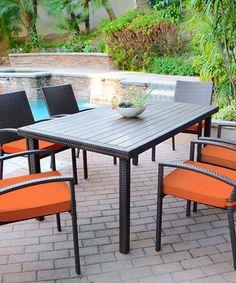 Look at this #zulilyfind! Espresso & Orange Seven-Piece Wicker Dining Set #zulilyfinds