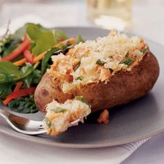 Twice baked salmon potatoes. Dinner for under $2
