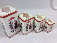 This is a listing for a set of 4 beautiful vintage tins from Yugoslavia The tins are in ok to good condition but have a few dents and some rust.  ex-Yu, SFRJ, Jugoslavija, Yugoslavia,nostalgia,childhood memories,80s,osamdesete,stare igracke,vintage,retro