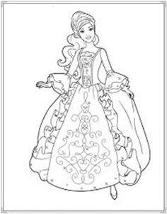Tranh tô màu công chúa barbie cho bé tập tô hình ảnh 8