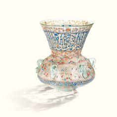 Lampe de mosquée en verre émaillé à la manière de brocard, XIXème siècle.