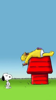 SNOOPY: Dammit, Homer! That's my spot. ~>=C
