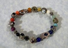 Hamsa Bead Frame Stretch Bracelet with Bali Style Rainbow Cabochon Gemstone and Silver Beads