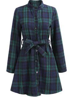 Green Stand Collar Plaid Belt Dress