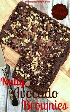 Nutty Avocado Brownies NO BEANS-Skinny Sweets Daily