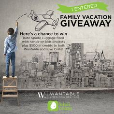 Win $1,500 in prizes including Kate Spade luggage, hands-on kids' projects from Kiwi Crate and $500 in credits to both Wantable and Kiwi Crate!