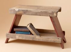 """I like this minimalistic """"Reading bench"""". Imagine a full bench with a book rack like this beneath it."""