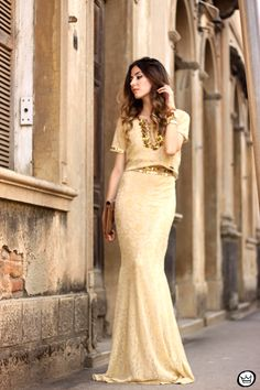 nude lace cropped top and long skirt