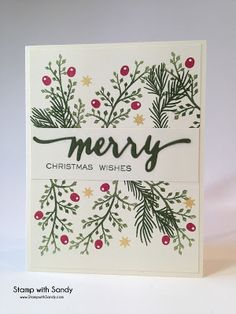 Stamp with SandyStamp Sets: Holiday Pine Branches (Hero Arts), Hand Lettered…