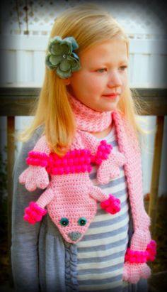 ˜DIY Crochet Fashion Lilleth the Poodle Scarf Crochet Kids Scarf, Crochet Girls, Crochet Scarves, Crocheted Hats, Unique Crochet, Cute Crochet, Crochet Baby, Crochet Leg Warmers, Afghan Crochet Patterns