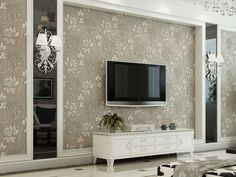 Grey Accent Wall European Style Luxury Super Thick Stereo Non-woven Floral Wall Paper Decor Murals Roll for Living Bedroom Tv Wall Design, Ceiling Design, Design Case, House Design, Living Room Tv, Interior Design Living Room, Living Room Designs, Interior Design Minimalist, Modern Interior