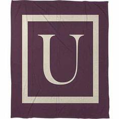 Thumbprintz Classic Block Monogram Fleece Throw, Eggplant, Purple