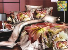 Pościele na łóżko w kolorze beżowym w lilie