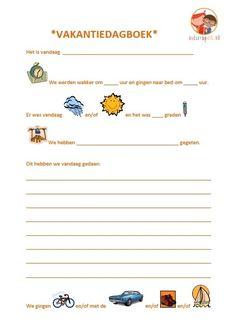 Vakantiedagboek voor kinderen. Uitprinten en meenemen. Met hulp van papa en mama geschikt vanaf ongeveer 3 jaar.