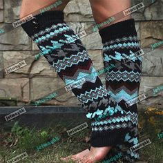 Chevron-Aztec-Tribal-Boho-Button-boots-Leg-Warmer-Socks-Knee-High-Navy-4