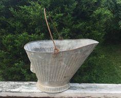 Galvanized Bucket Coal Bucket Garden Decor by TheCookieClutch on Etsy