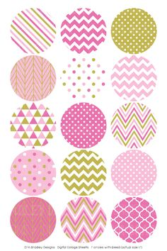 Pink and Gold Digital Bottle Cap Images – Erin Bradley/Ink Obsession Designs