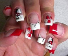 Beautiful nails 2016, Dating nails, Heart nail designs, Manicure by summer dress, Nails with stickers, Red and white French manicure, Romantic nails, Shellac nails 2016
