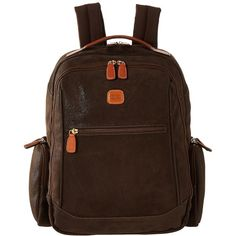 Bric's Milano Life - Large Executive Backpack (Olive) Backpack Bags ($465) ❤ liked on Polyvore featuring bags, backpacks, strap backpack, leather backpack, brown leather backpack, laptop backpack and laptop bags