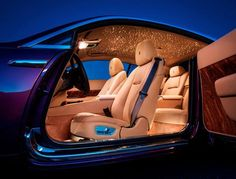 The $12,100 Rolls Royce 'Starlight' headliner is made so it looks exactly like the sky (star sign) on the day of your birth. SO COOL! Click for more. #spon #luxury