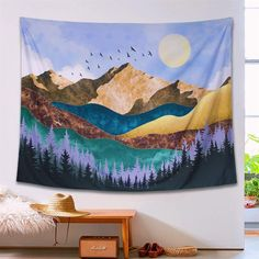 Neasow Mountain Moon Bohemian Tapestry Wall Hanging, Tree Forest Nature Landscape Art Tapestries Boho Home Decor Blanket for Room,Sunrise inches Room Tapestry, Blue Tapestry, Bohemian Tapestry, Mandala Tapestry, Tapestry Wall Hanging, Tapestries, Sunset Landscape, Landscape Art, Blanket On Wall