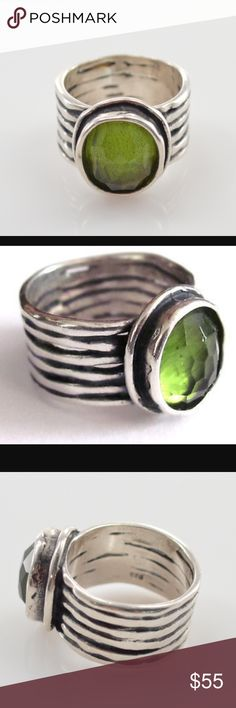 Silpada Ring Sterling Silver with Green Stone.  EUC Silpada Jewelry Rings