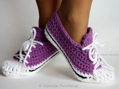 Crochet Slippers All Star ❥ 4U hilariafina  http://www.pinterest.com/hilariafina/